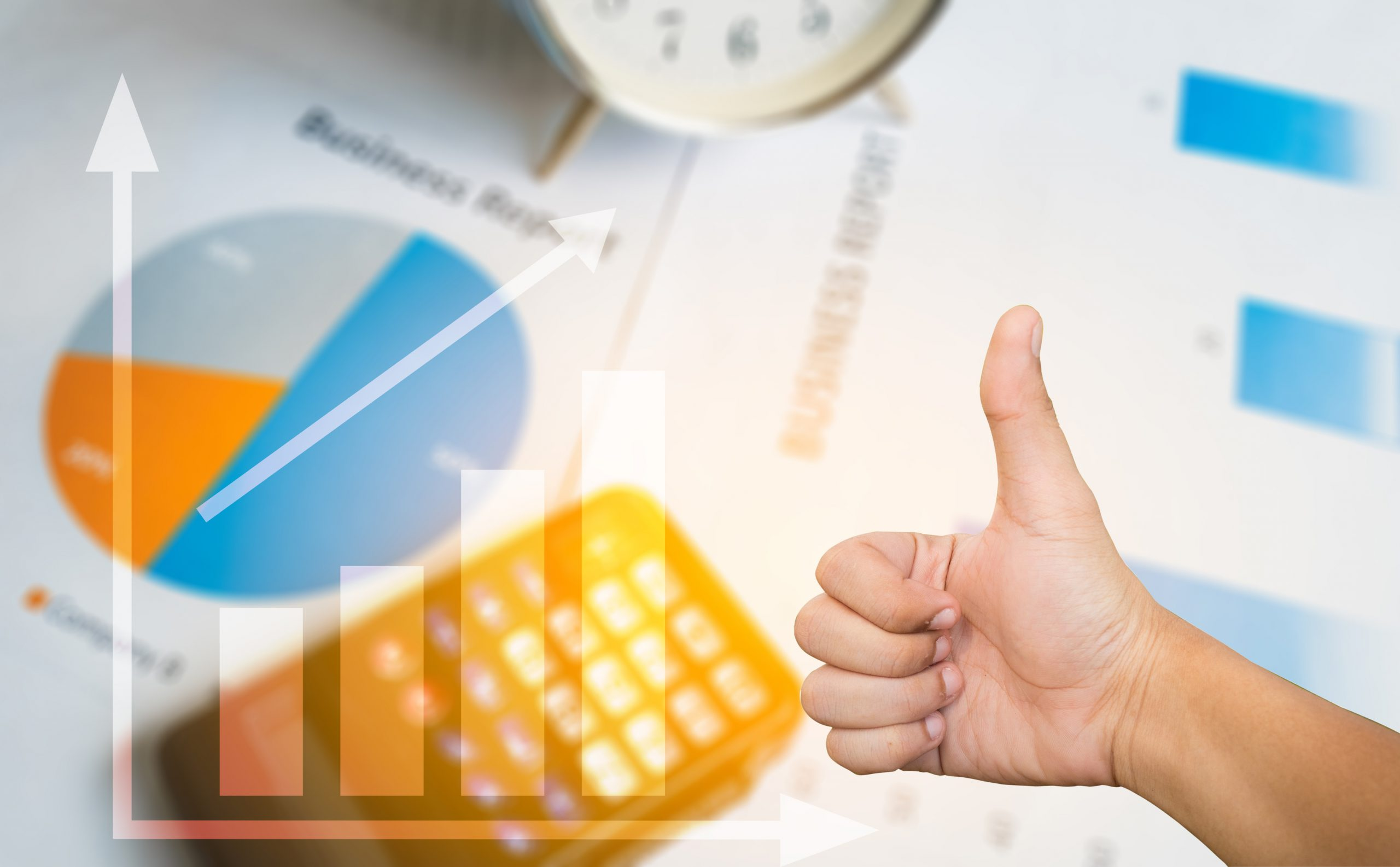 Accounting data with thumbs up