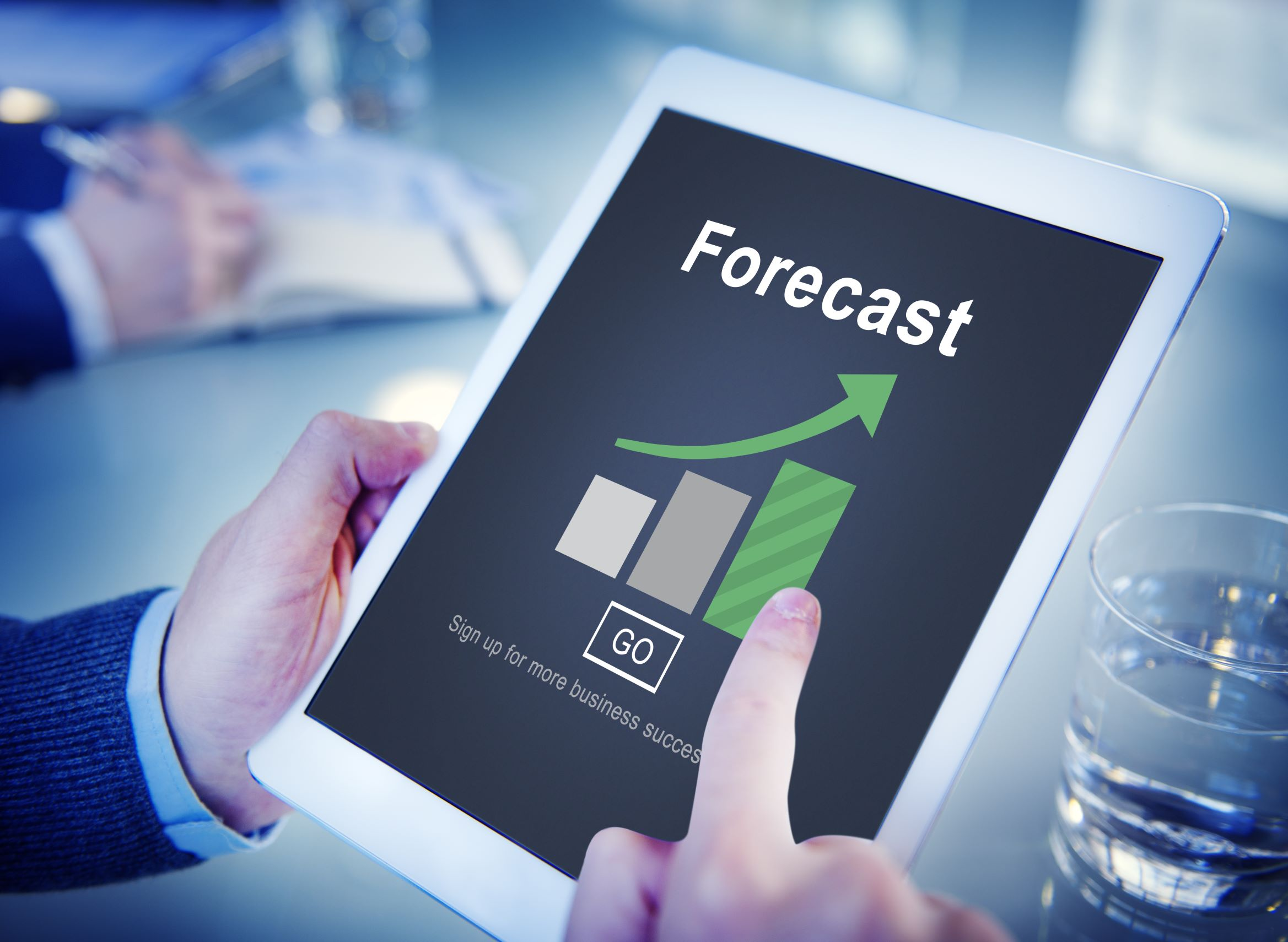 Tablet with forecast on it